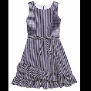 Blush Girl's Striped Poplin Faux Wrap Dress